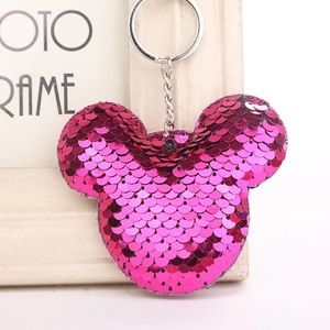 Accessories - Mickey purse charm keychain hot pink sequins NEW